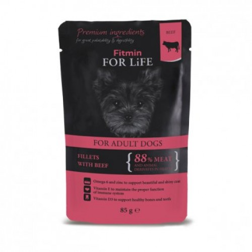 Fitmin For Life dog pouch adult with sundried tomatoes in gravy 85g