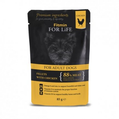 Fitmin For Life dog pouch adult chicken with ham in rosemary jelly 85g
