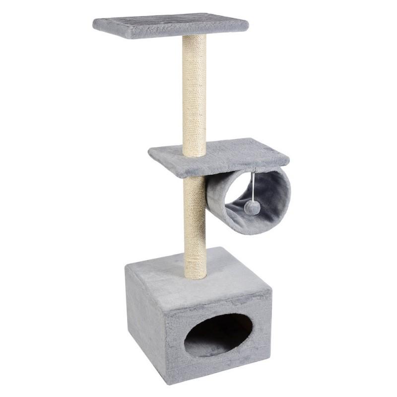 Когтеточка Д22 с барабаном двухэтажная серая для кошек ТМ Природа 36х107см