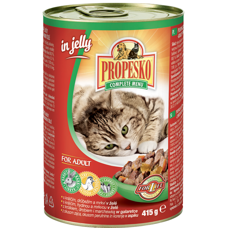 Propesko Cat chunks rabbit, poultry and carrot 415g