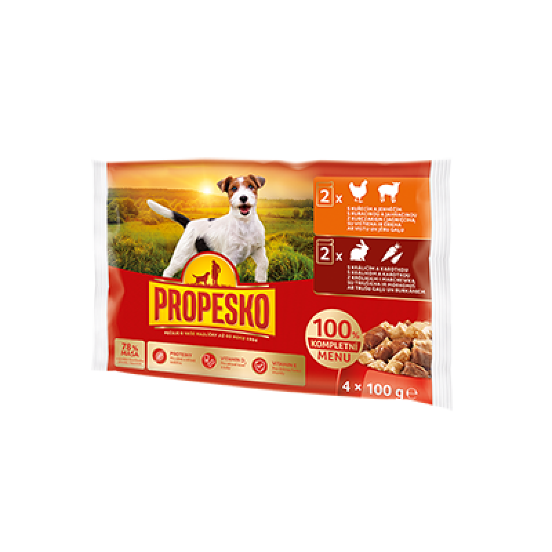 Propesko Dog pouch 2xlamb, chicken -  2xrabbit, carrot 4*100g