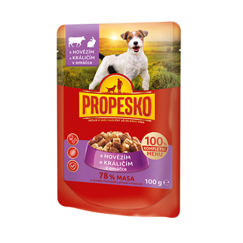 Propesko Dog pouch beef, rabbit 100g