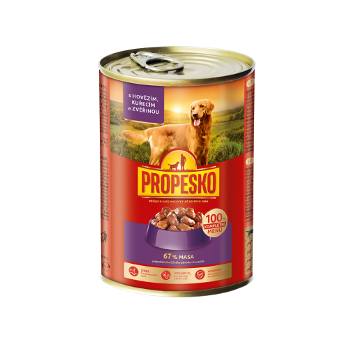 Propesko dog chunks beef, game, chicken 415g